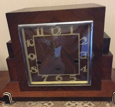 Vintage Chiming Mantel Clock HALLER Art Deco Features. Foreign(German?)
