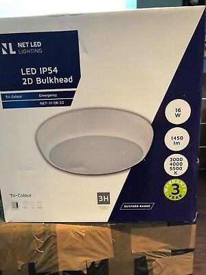 2 LED 3hr Emergency Maintained Non Maintained Round Ceiling Bulkhead Light IP65