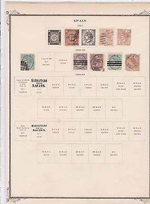 spain stamps on 2 album page  ref 13515