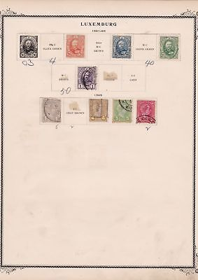 luxembourg stamps on 2 album page ref 13440