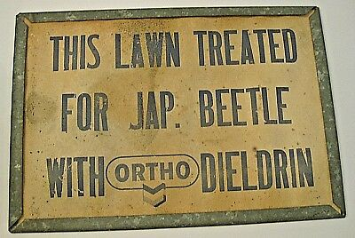 Rare 1950's Ortho Bug Killer Lawn Sign Dieldrin Japanese Beetle Metal & Paper A-