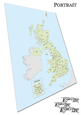Traditional postcode map of the United Kingdom Light Blue Green Map Poster X1821