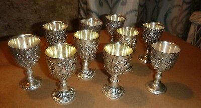 Vintage Lot of 10 Silver plate Miniature Cordial / Goblets ~ Raymond Silverplate