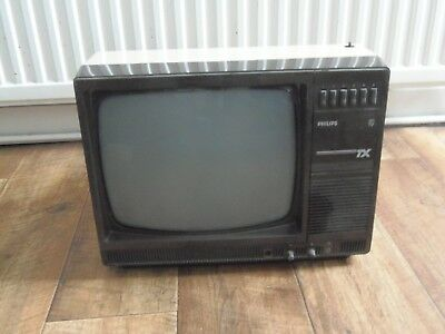 Vintage Phillips 12Tx Black And White 12 Inch Television Ideal For A Man Cave