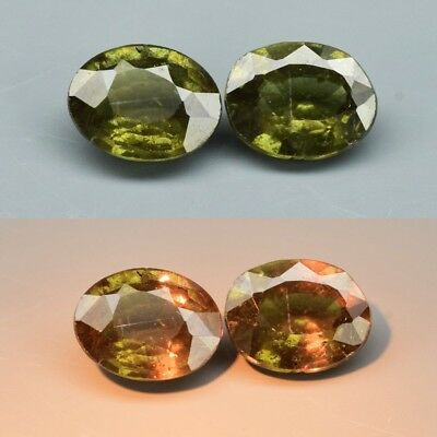 Pair 2pcs/0.95ct t.w 5.3x4.2mm Oval Natural Unheated Color Change Garnet, Africa