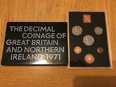1971 Royal Mint UK Proof 6-Coin Set includes Unissued Large 50p 1st Decimal coin
