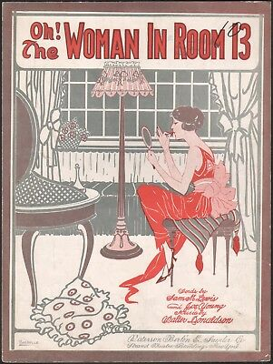 WALTER DONALDSON jazz sheet music OH! THE WOMAN IN ROOM 13 Art Deco vamp 1919