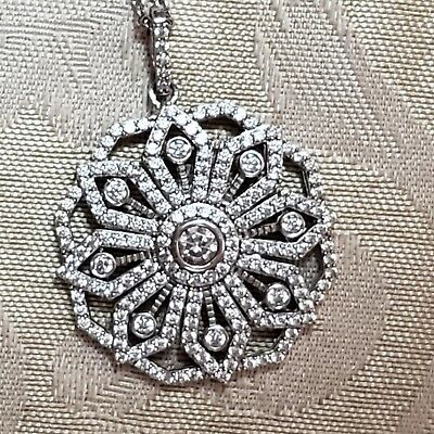 925 sterling silver Mandala style pendant necklace with rhinestone accents