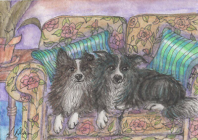 Border Collie dog orig ACEO mini painting sheepdog by Susan Alison sofa for two