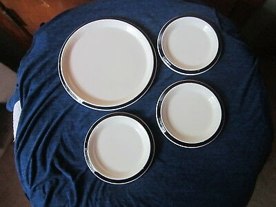 Shenango China Lot of 4 Restaurant Ware Blue Rim Plates
