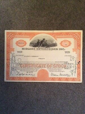 Midland Enterprises Inc Dated 1958 9 Shares Invalid Share Certificate