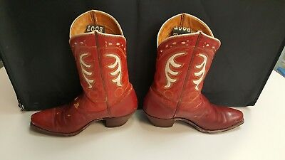 Vintage 50's  ACME Boys Girls Kids Red Leather Cowboy Western Boots - 7 1/2C