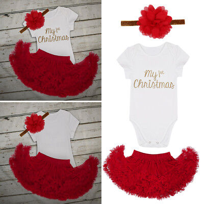 Newborn Baby Girl Infant Christmas Tops Romper+Skirt Headband Clothes Outfit Set
