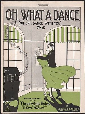 THREE WHITE KUHNS jazz sheet music OH WHAT A DANCE Dancing to Victrola DECO 1920