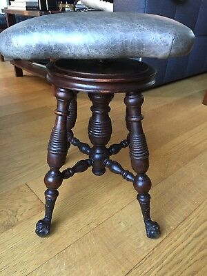 antique restored Revolving Adjustable Claw & Gloss Ball Leather piano Stool