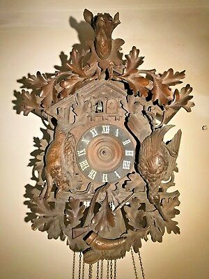 Stunning Antique Black Forest Hunter Cuckoo Clock C1890 Wonderful Carving, Works