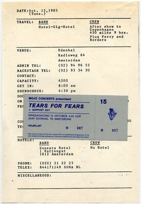 Tears For Fears Edenhal, Amsterdam Tour Itinerary 1985 + ticket