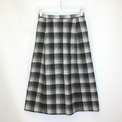 Young Pendleton VTG Girls Multi-Gray Plaid Wool Long A-Line Skirt SZ 9 / 10