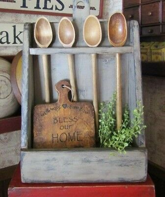 Primitive Wood Bowl/crock Rack Made By Hubby - Hang  Or Use Tabletop