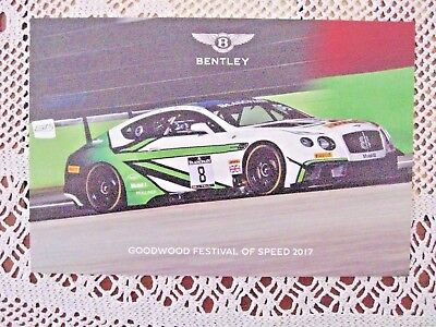 Bentley Continental GT3 2017 Card Goodwood Festival of Speed Approx 21cm x 13cm