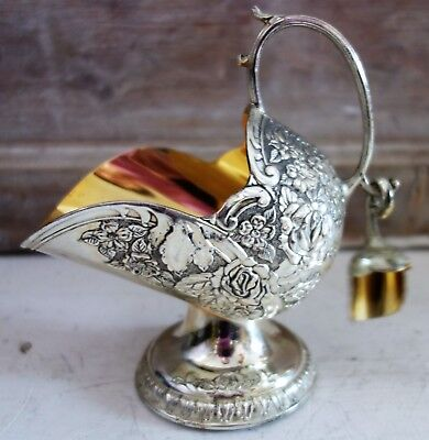 vintage silver plated coal scuttle shaped sugar pot