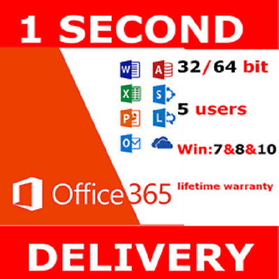 Microsoft Office 365 Pro Plus Home & Business For 5 Users 2019 INSTANT DELIVERY