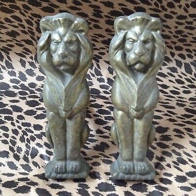 Pair Old Antique Large Solid Brass Lion Fire Dog Irons Period Reclaimed Hearth