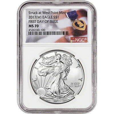 2017-(W) American Silver Eagle - NGC MS70 - First Day of Issue - Purple Heart