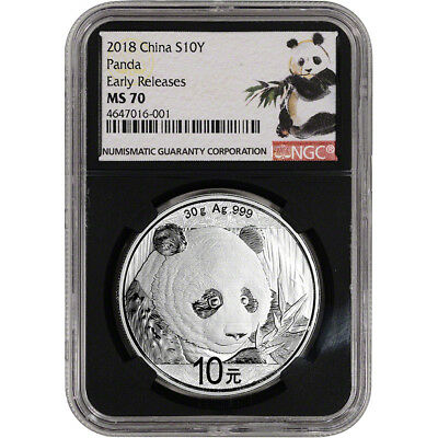 2018 China Silver Panda (30 g) 10 Yuan NGC MS70 Early Releases Ink Brush Black