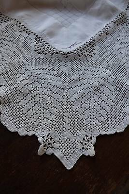 Antique large white Irish linen tablecloth with hand crochet lace border.