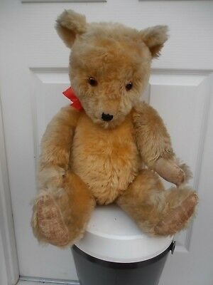 LARGE OLD VINTAGE 1950s, 60s LONG MOHAIR  JOINTED CHILTERN HUGMEE TEDDY BEAR 25""