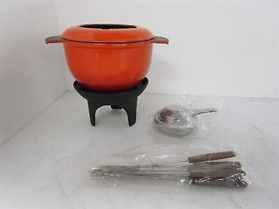 Vintage French Enamel Cast Iron Fondue Pot #20538 Flame Orange/Red