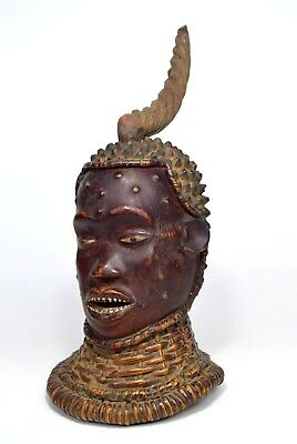 Vintage Ekoi Skin Covered African Headdress /Mask, African Art