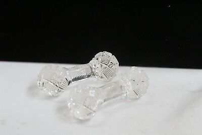 Pair of Victorian Glass Crystal Knife Rests Cut Starburst Design Barbells
