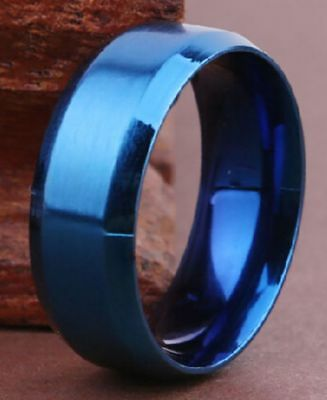 8mm Titanium Black Double Groove Comfort Fit Rings Size 8-14 RT11 USA Seller