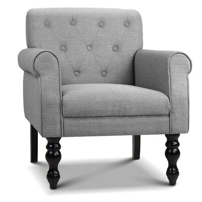 Artiss Wingback abric Accent Armchair - Grey