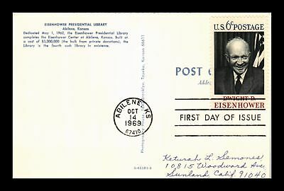 Dr Jim Stamps Us Eisenhower Presidential Library Kansas First Day Issue Postcard