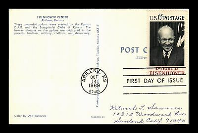 Dr Jim Stamps Us Eisenhower Center Kansas First Day Issue Postcard