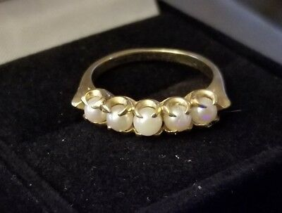 Vintage 14k Solid Yellow Gold & Pearl Cocktail Ring - Size 5.5 - 2.64 Grams