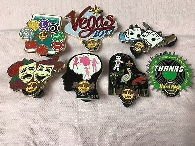 Hard Rock Cafe Lot of 7 Pins - Vegas - Biloxi - New Orleans - Chicago and More