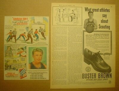 2 Bob Davies Ads ~ Buster Brown Boy Scout Shoes and Wheaties ~ Chip Hilton