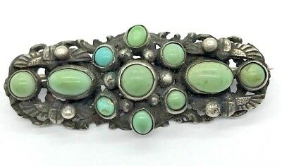 Antique Art Nouveau Egyptian Revival Sterling Silver Turquoise Scarab Pin Brooch