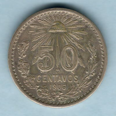 Mexico. 1906 50 Centavos.. Closed 9 in date..  gVF - Trace Lustre