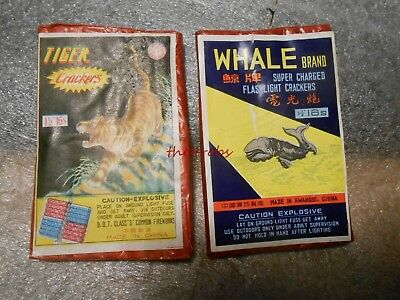 2 Vintage Firecracker Labels Whale and Tiger Brand