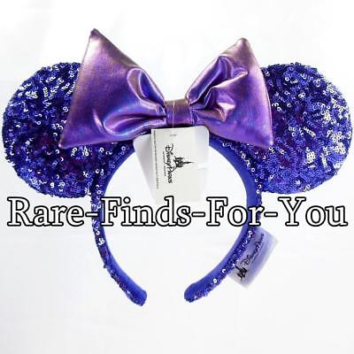 Disney Parks Minnie Mouse Ear Potion Purple Iridescent Bow Sequin Headband (NEW)