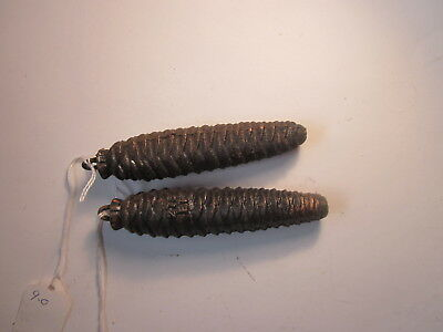 Vintage Black Forest Cuckoo Clock Cast Iron Pine Cone Weights 9.2 & 9.9 Ounces