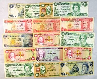 Lot of 16 Various Caribbean Island Notes - Avg Circ to AU