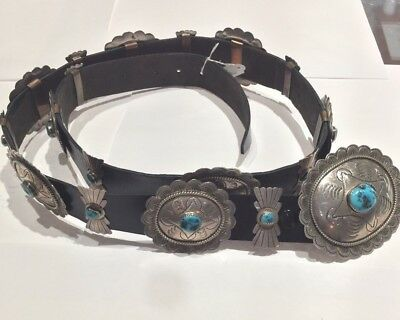 Old Pawn Native American Sterling Silver and Turquoise Conch Belt