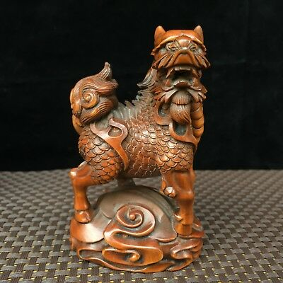 Rare Old Boxwood Collectible Handwork Kylin Step Ing0t Fortune Netsuke Statue