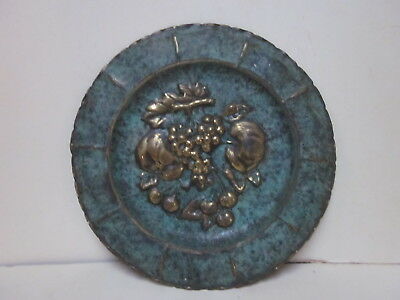 Vintage Made In India Stamped Brass Fruit Verdigris Finish Decorative Plate